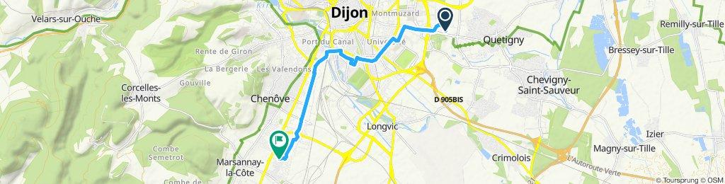 Itinéraire confortable en Perrigny-lès-Dijon