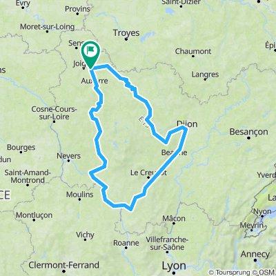 Tour de Bourgogne à vélo - 576,5km 1820D+