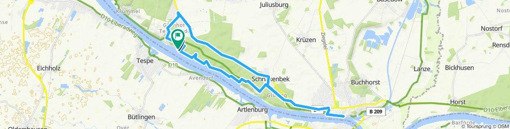 Elberadweg bei Lauenburg - hohes Elbufer