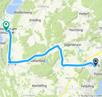 Snail-like route in Herrsching am Ammersee