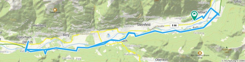 auf dem Drauradweg von Kleblach-Lind nach Dellach
