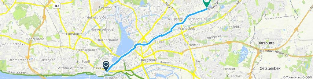 Gerade Fahrt in Hamburg