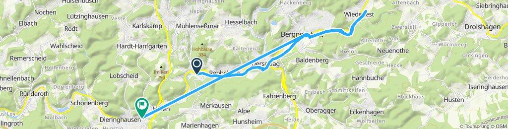 Gerade Fahrt in Gummersbach