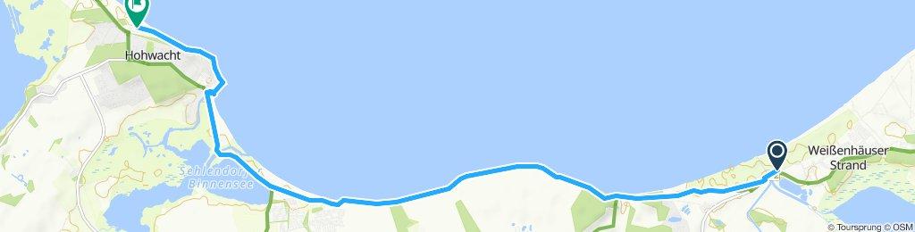 Einfache Fahrt in Hohwacht (Ostsee) eine Tour +4km extra