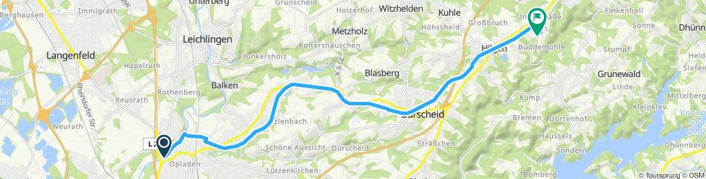 Gerade Fahrt in Wermelskirchen