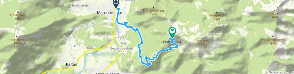 von Marquartstein zum Hochgernhaus 1510m danach weiter zu Fuß zum Hochgern 1740m
