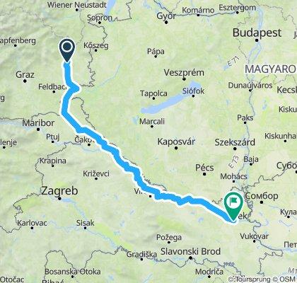 Route Wolfau - Osijek August 2019