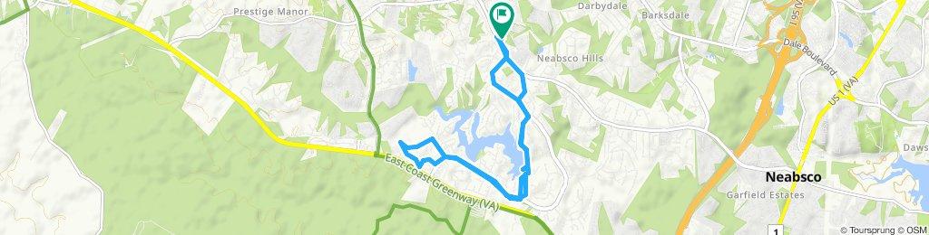Snail-like route in Woodbridge