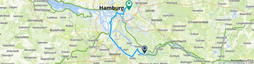 von Zollenspieker, Hoopte über Harburg nach Billstedt