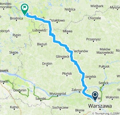 z Wawy do Głęboczka przez Dalnię, Szreńsk, Kuczbork, Lidzbark 210km
