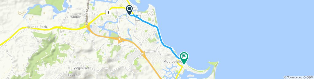 Restful route in Mooloolaba to sunshine plaza