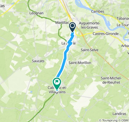 piste cyclable jusqu'à cabanac 12km