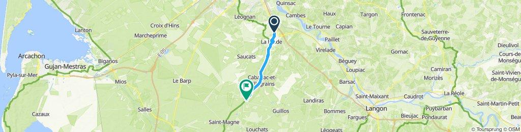 piste cyclable jusqu'à villagrains 17km
