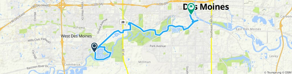 Raccoon River Park to downtown Des Moines