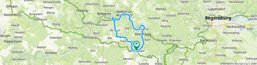 Altmannstein - Riedenburg - Dietfurt - Köttingwörth - Wolfsbuch - Altmannstein