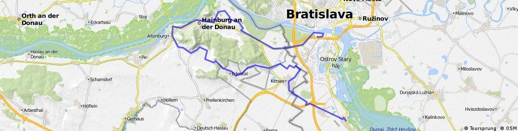 Rusovce-Jarovce-Kittsee-Hundsheim-Hainburgab Donau-BA Aupark
