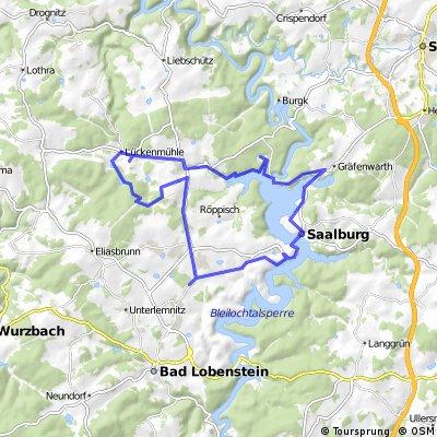 Lückenmühle - Remptendorf -Ebersdorf - Saalburg - Staumauer - Isabellengrün - Lückenmühle