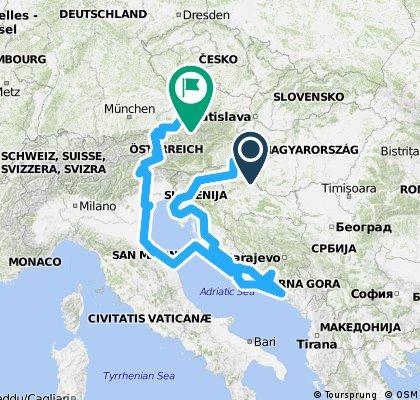 """cyklotour """"Okolo Jadranu a přes Alpy domů"""" (kod CT2009)"""