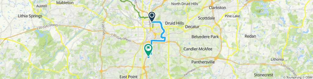 Relaxed route from midtown to High Point in Atlanta