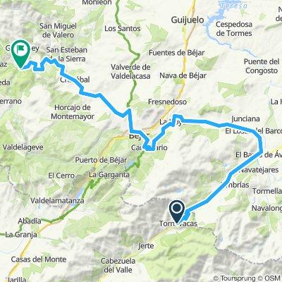 2020-1 opción-1 etapa D -Tornavacas o desde el alto (puerto de Castilla)  a El Barco de Avila por la Nº 110-a BEJAR por Becedas-Navacarros-Candalario-Bejar-Nava