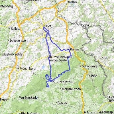 MTB-Tour Fichtelgebirge Hof - Rehau - Großer Kornberg - Kirchenlamitz