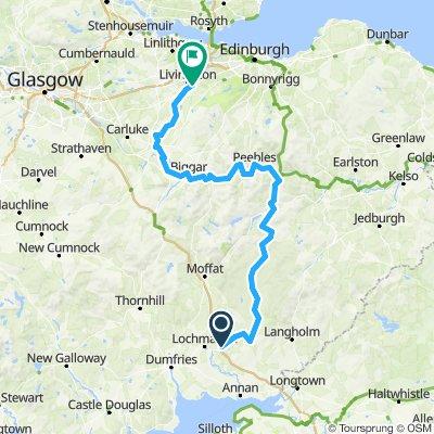 Lockerbie - Eskdalemuir - Traquair - Peebles - Biggar - Carstairs - Livingston South