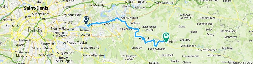Vaires sur Marne - Crecy la Chapelle - Coulommiers - 53km