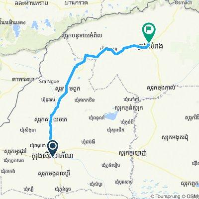 Sisophon naar noorden 114 km