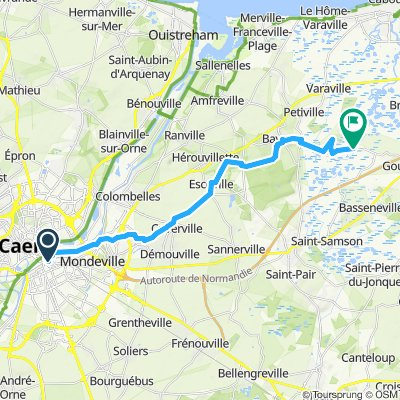 Caen to Robehomme then to bridge over Dives River
