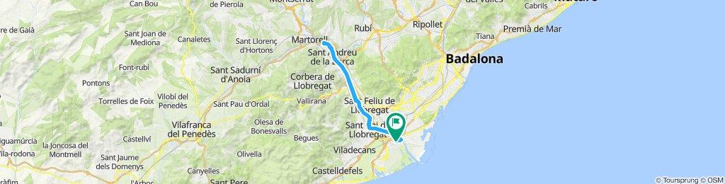 Ruta constante desde el Prat de Llobregat
