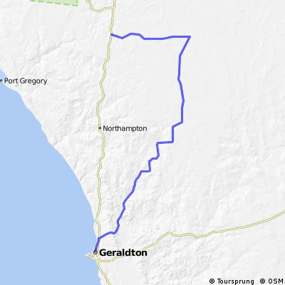Cycling routes and bike maps in and around Geraldton Bikemap