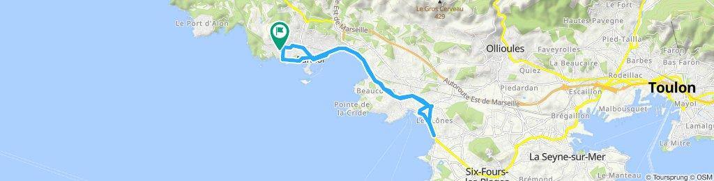 Itinéraire à grande vitesse en Bandol