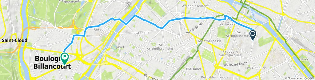 Relaxed route in Boulogne-Billancourt