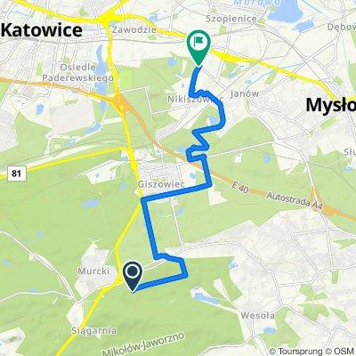 Zielony szlak rowerowy nr 121 w Katowicach