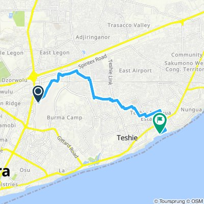 Accra Flughafen_Sango Surf Guest house_ Rad_16km