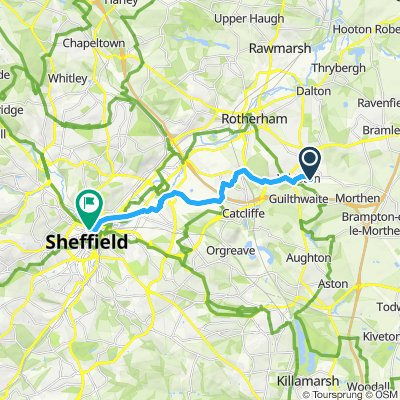 Easy route from Rotherham to Sheffield
