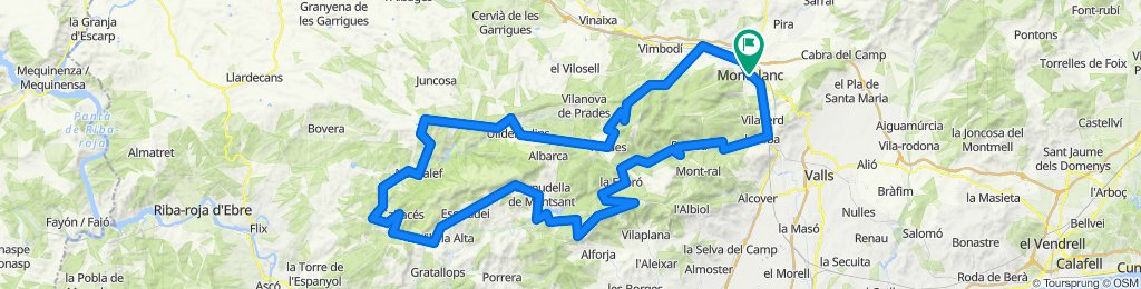 Montblanc - Prades - Montsant - Escaladei - la Mussara - Montblanc. Road cycling Catalonia