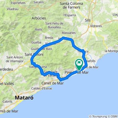 Santa Susanna - Calella - Sant Celoni - Hostalric - Santa Susanna. Road cycling Catalonia