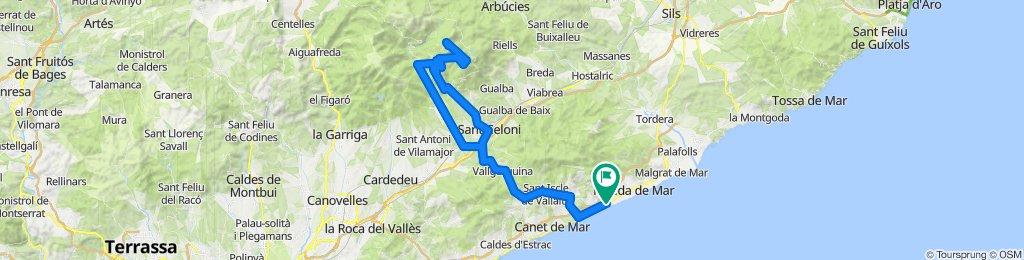 Calella - Sant Celoni - Turó de l'Home - Campins - Calella. Road cycling Catalonia