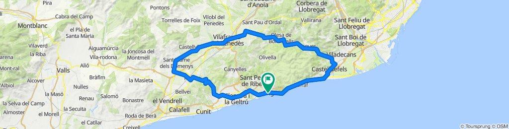 Sitges - Begues - Vilafranca del Penedès - Pantà de Foix - Sitges. Road cycling Catalonia