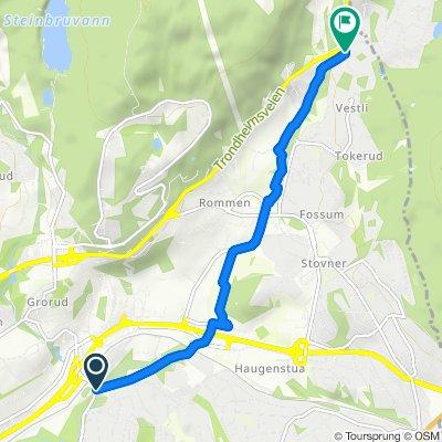 Grønne Sykkelruter, Oslo: Trondheimsveien (Rv4) – Rommensletta – Haugenstua – Grorud jernbanestasjon