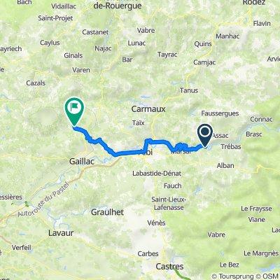 Avignon-Toulouse, 7. Etappe bis Vieux, Camping Sesquière