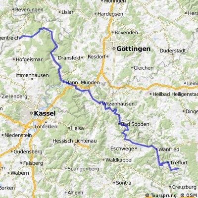 Stammen zur Weser und weiter an der Werra