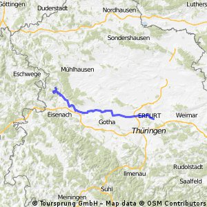 Werra nach Erfurt über den Kindel