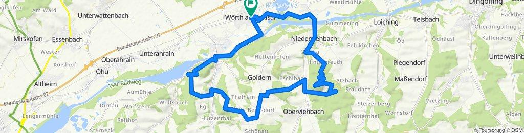 Wörth-Niederviehbach-Wocka-Hinterkreuth-Hattenkofen-Fuchsberg-Taschenmais-Bergsdorf-Paring-Holzhiesel-Impenbach-Reichersdorf-Hohe_Burg-Niederaichbach-Wörth