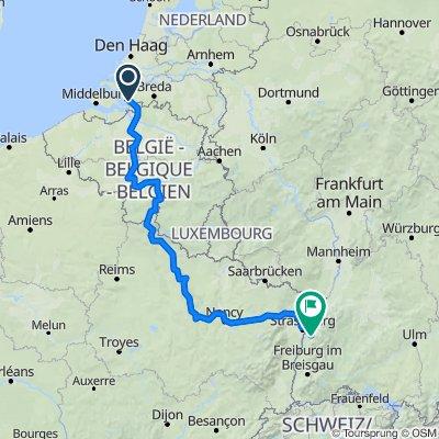 (Bergen op Zoom) - Antwerpen - Brüssel - Namur - Verdun - Nancy - Strasbourg - (Offenburg)
