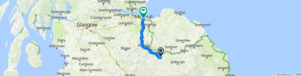 St Wilfrid's Way-Route from Hexham to Edinburgh