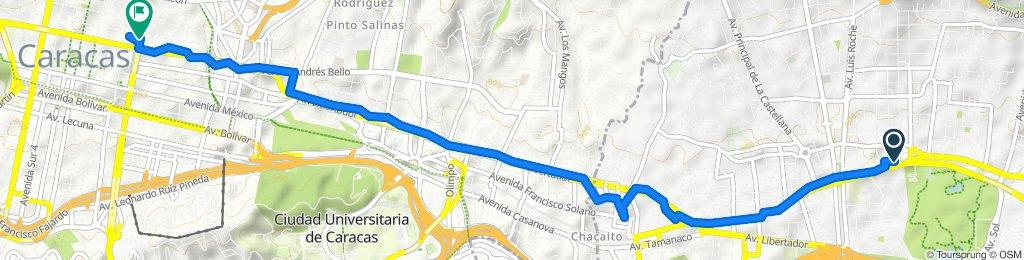 Ruta tranquila en Caracas