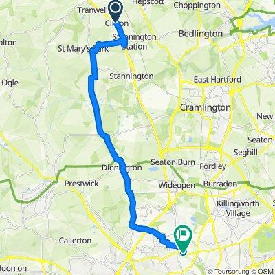 A197, Morpeth to 9 Rectory Grove, Newcastle Upon Tyne