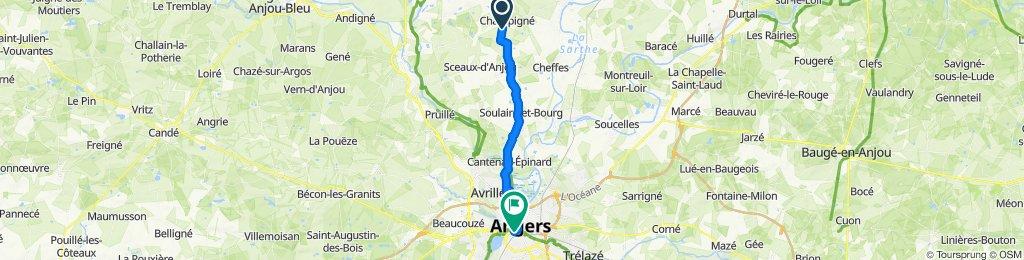 Route d'Angers, Champigné to Boulevard du Général de Gaulle, Angers